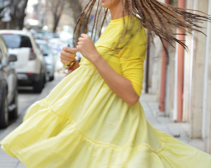 Yellow Oversize Linen Cotton Dress, Extravagant Asymmetric Shirt, Short Sleeve Bohemian Tunic, Casual Summer Shirt by SSDfashion