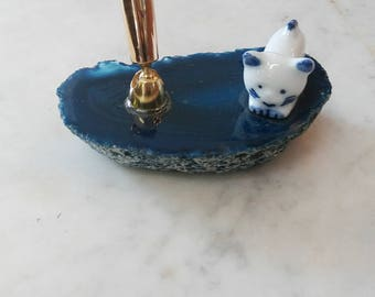 Cat and Blue Stone Pen Holder and Paperweight