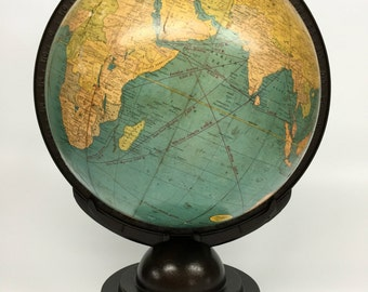 Antique World Globe, Cram's Terrestrial Globe, Desk Globe, Vintage Cram's World Globe, Antique Globe, Vintage Office Decor