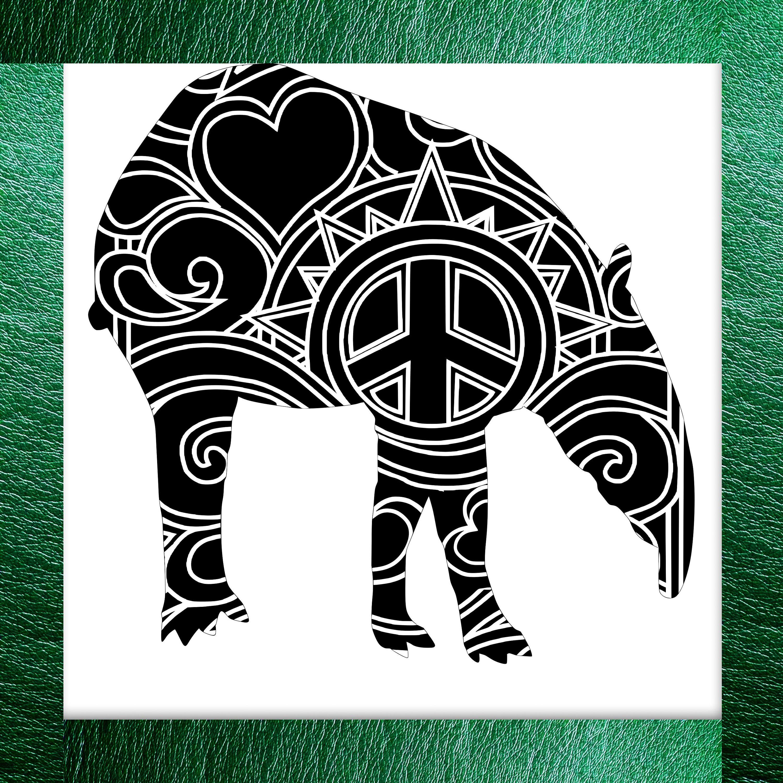 Tapir Papercut Template Mandala Henna - Svg Paper Cut Templates ...