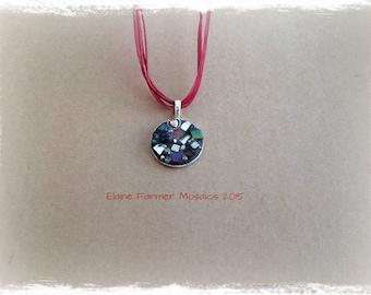 Magenta Circle Mosaic Necklace Pendant