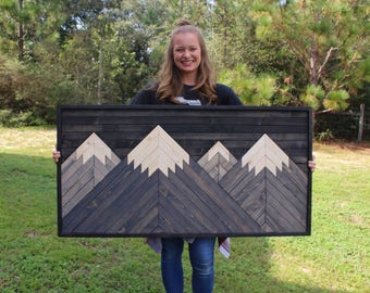 Reno Range // Mountain Wood Art,Mountain Range,Modern Wood Art,Wood Wall Art,Geometric Wood Art,Rustic Home Decor,Farmhouse Decor