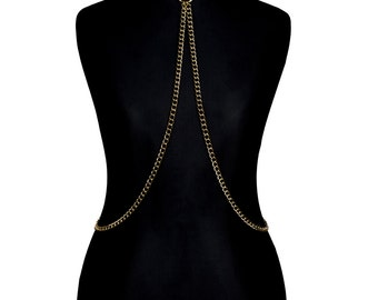 Gold Metal Body Chain Harness #I - bodychains, bodychain, gold plated, metal