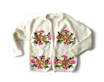 vintage sweater cardigan 60's ivory neon floral 1960's womens clothing size large l