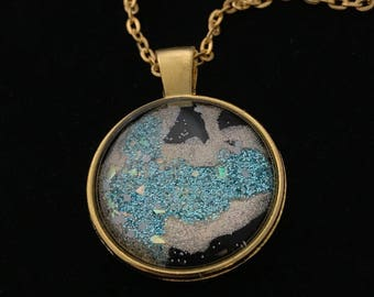 Gold and Blue Glitter Glass Pendant Necklace 024