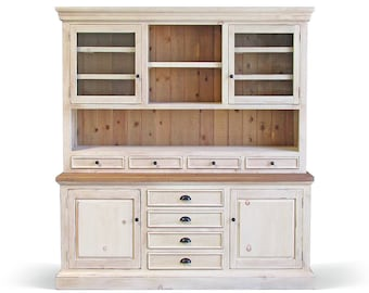 Hutch Buffet Sideboard Reclaimed Wood Farmhouse China Cabinet Handmade