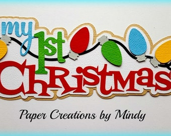 Elite4u Mindy Baby First Christmas Santa Title Premade paper piecing for scrapbook page embellishment
