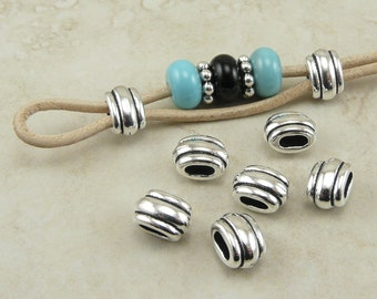 Barrel Slide Spacer Beads 4x2mm ID Deco Ribbed Small Qty 6 TierraCast > Fine Silver Plated Lead Free Pewter - I ship Internationally NP