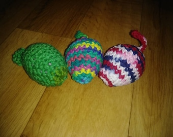 SET OF 3 | Ferret Toy | Small Animal Toy | Bell Toy | Easter Egg | Cat Toy | Crochet Toy | Small Toys for Pets | Small Toys