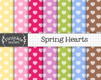 Valentine's Day Digital Papers, Digital Paper Hearts, Instant Download, Commercial Use,Digital Scrapbooking,Card Making,Easter