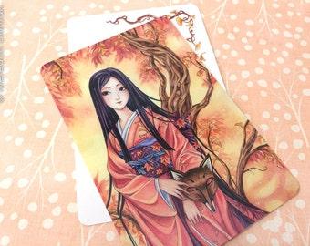 Art Postcard,  fox spirit, kitsune, Japanese kimono, ginkgo tree illustration