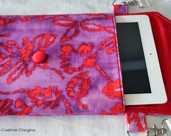 iPad Sleeve Cover Case Padded Messenger Bag Strap Red Purple Batik Fabric