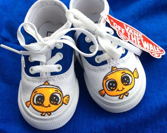 Nemo shoes | Personalized | Hand drawn | Toddler shoes | Vans. Custom | Slip-ons. Handmade | doodles.