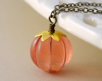 Orange Pumpkin Necklace, Fun Halloween Jewelry, Lucite Pendant, Antiqued Brass Chain, Autumn Accessory