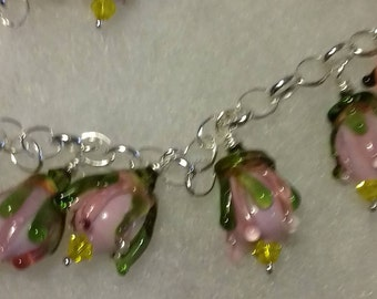 bracelet with silver clasp and lampwork beads