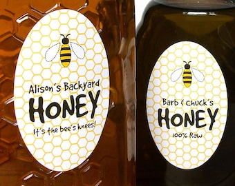 CUSTOM large OVAL Cute Honey labels, customized honey bottle and mason jar labels are great gifts for backyard beekeepers