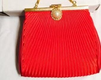 Red Satin Pleaded Clutch Handbag w/Chain Strap