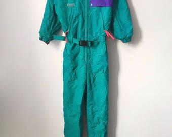 vintage columbia sportswear snowsuit youth size medium 90s