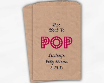 She's About To Pop Baby Shower Candy Buffet Treat Bags - Baby Girl Personalized Favor Bags in Hot Pink - 25 Custom Kraft Paper Bags (0128)