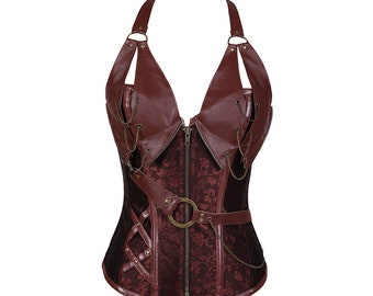 Buckle straps patchwork leather bustier corset