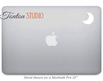 Moon Macbook Decal / Crescent Macbook Decal / Crescent Sticker / Moon Decal Laptop Removable Vinyl - G056