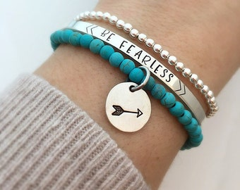 Be Fearless Inspirational Bracelet Set - Silver Beaded Bracelet - Arrow Bracelet - Boho Bracelet Set - Turquoise Bracelet- Gift for her