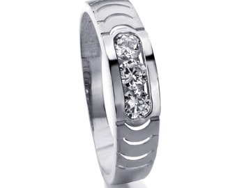 Men 14K White Gold CZ Three Stone Wedding Band Ring / Free Gift Box(ATR294GW)