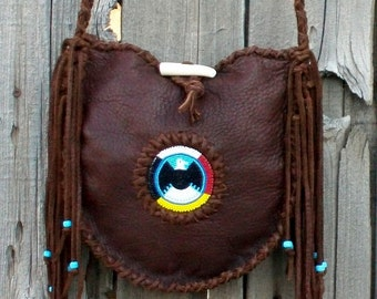Leather tote , beaded eagle  , four directions eagle tote ,  shoulder bag , leather handbag , tribal bags