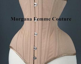 Custom made nude English coutil tightlacing waist training corset