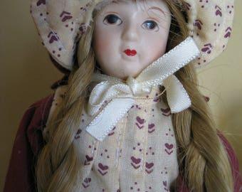 Little Prairie Girl porcelain doll 1970's