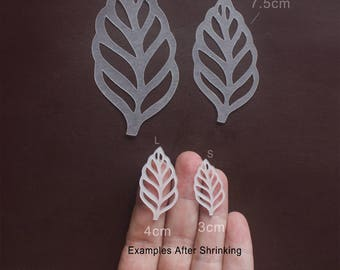 Precut Drawable Shrink Plastic Film Filigree Leaf Leaves Just Add Color & Bake Semi Clear Shrink Film