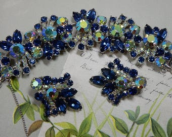 JULIANA Sapphire Blue & Aurora Borealis Rhinestone Bracelet and Earrings Set    OCG4