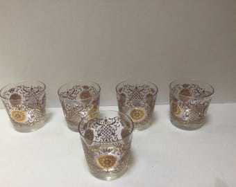 Vintage 1960's highball glasses, with heavy gold  set of 5