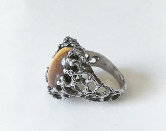 Vintage Brutalist Sterling Silver And Tigers Eye Ring