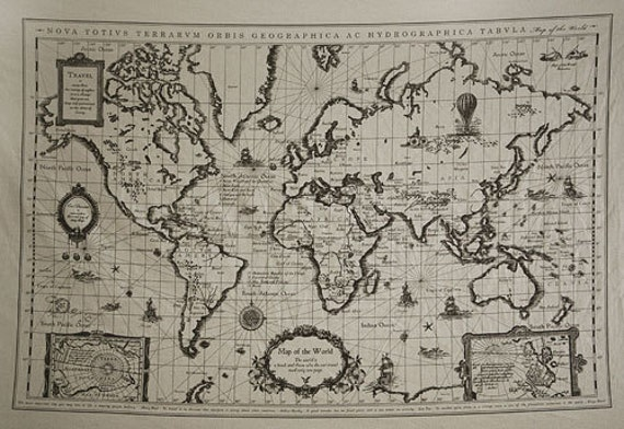 L901 retro cotton linen fabric antique world map 145cm x like this item gumiabroncs Image collections