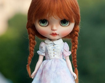 """Reddish Carrot Brown Mohair Blythe Wig with Braids and Fringe 10-11"""" Size Doll Wig"""