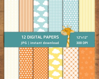 12 Scrapbook Pages, Patterns, Backgrounds, Scrapbook Paper, Scrapbooking papers pack - instant download - Digital file
