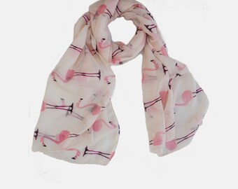 Cool printed Pink Flamingos scarf. white with pink Flamingos Scarf. light Summer Scarf