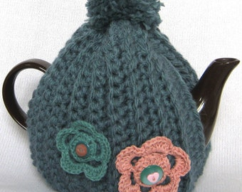 Crochet Pattern for Super Chunky Tea Cosy with Flowers PDF - Instant Download