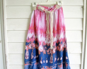 Girls Skirt, Macrame Belt, Size 4/5, Long Tie Dye Skirt, Gypsy, Hippy, Birthday Girl, Beach Skirt, by mailordervintage on etsy