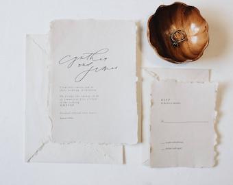 The Cynthia / Hand Torn Wedding Invitation / Wedding Invitation / Minimalist Wedding Invitation / Wedding Stationary