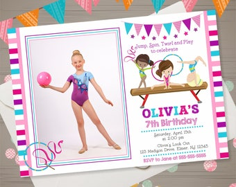 Gymnastics birthday invitations Etsy