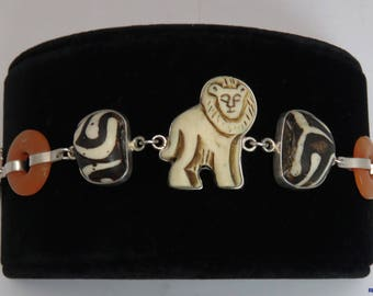 1950's-1970's Tibetan Sterling Silver Lion Bracelet