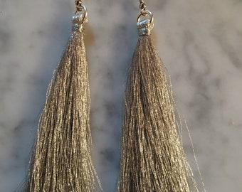 Silver metallic tassel earrings !