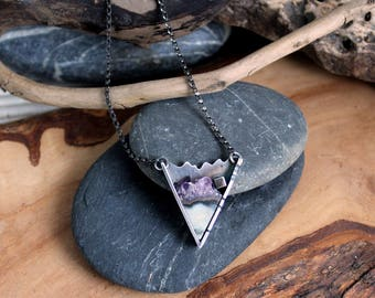 Natural Amethyst in Silver Pendant