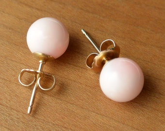 Natural Angel Skin Coral stud earrings, 8 mm Natural Angel Skin Coral Bead, Sterling Silver and/or Gold posts and ear-backs, Handmade in USA