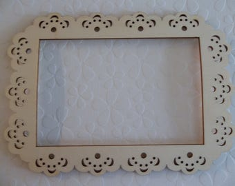 "Wood Picture Frame - Doily Edge - 4"" X 6"" - DIY Home Decor - Wood Embellishment - Wood Wall Art - Wooden Photo Frame"