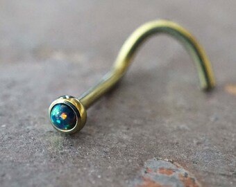 18g Black Opal Gold Nose Ring Opal Nose Screw