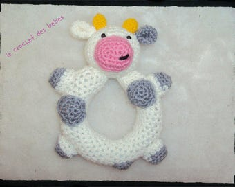 """cow plush rattle """"made to order"""""""