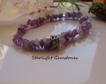 Amethyst Chip Boho Chic Bracelet with Sterling Hill Tribe Silver Spacers & Rhinestone Accent Spacer
